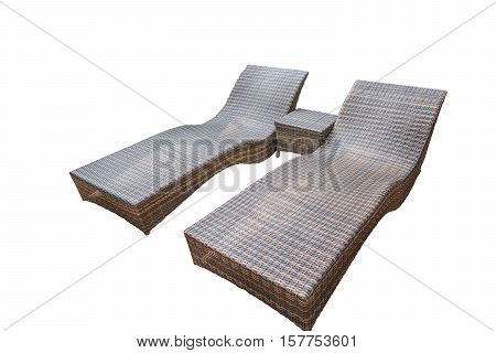 Rattan chaise lounge isolated on white background with clipping path.