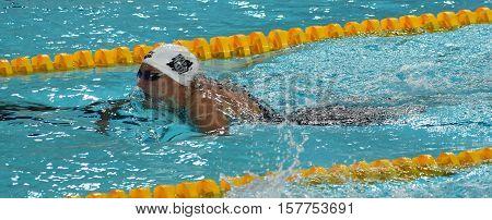 Hong Kong China - Oct 29 2016. Hungarian Olympic world and European champion swimmer Katinka Hosszu swimming breaststroke. FINA Swimming World Cup Preliminary Heats Victoria Park Swimming Pool.