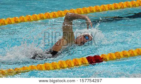 Hong Kong China - Oct 29 2016. Hungarian Olympic world and European champion swimmer Katinka Hosszu swimming freestyle. FINA Swimming World Cup Preliminary Heats Victoria Park Swimming Pool.