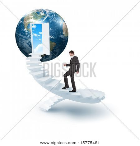 young man climbs the ladder of success and a virtual career. Collage.