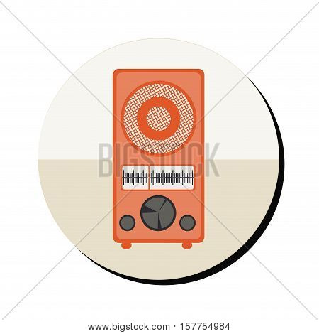 radio antique with controls in round frame vector illustration