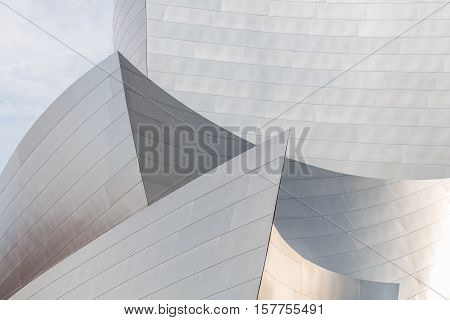 LOS ANGELES, CALIFORNIA - JUNE 5, 2016:  Architectural detail of the landmark Disney Concert Hall, which is one of the most acoustically sophisticated concert halls in the world.