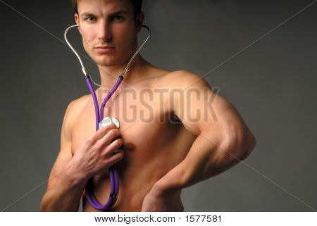 Man And  Medical Stethoscope