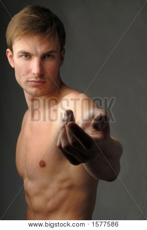 Muscular Male Torso  And Hand
