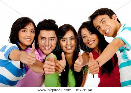 Group of people with thumbs up �¢�?�? isolated over a white background