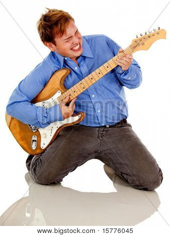 Male guitar player - isolated over a white background