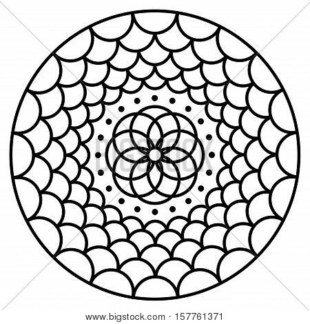 Simple mandala flower design vector photo bigstock for Easy flower coloring pages