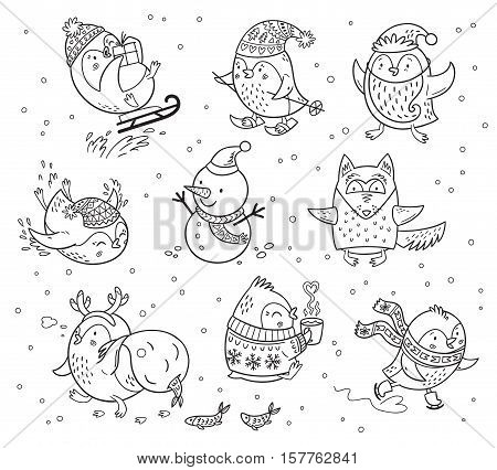 Black and white cartoon illustration of penguins characters. Freehand vector drawings isolated over white background. Coloring book
