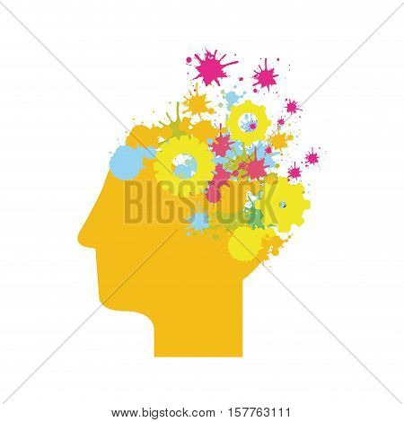yellow silhouette head with gears and colorful sparks vector illustration