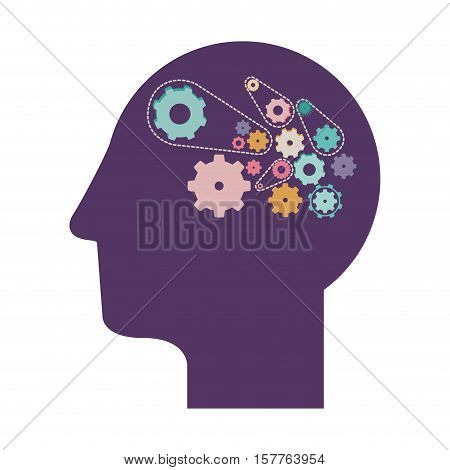 purple silhouette head with gears vector illustration