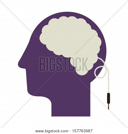 purple silhouette head and human brain with jack connector vector illustration