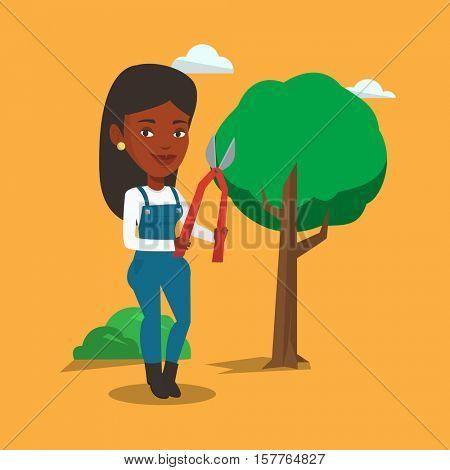 An african-american gardener holding a pruner. Gardener is going to trim branches of a tree using pruner. Professional happy gardener pruning a tree. Vector flat design illustration. Square layout.