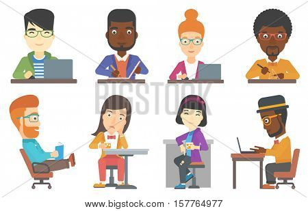 Young happy office worker working on laptop. Office worker sitting at the table and using laptop. Cheerful office worker at work. Set of vector flat design illustrations isolated on white background.