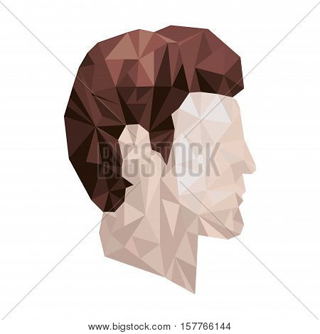 side view male abstract polygon portraits vector illustration