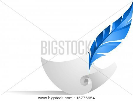 icon of feather on the paper