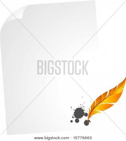 icono de pluma en el papel