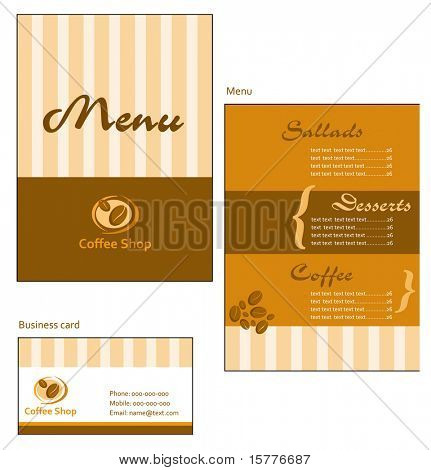 Template designs of menu and business card for coffee shop and restaurant
