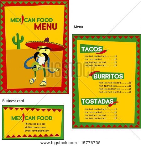 Template designs of Mexican menu and business card for coffee shop and restaurant, vector file include