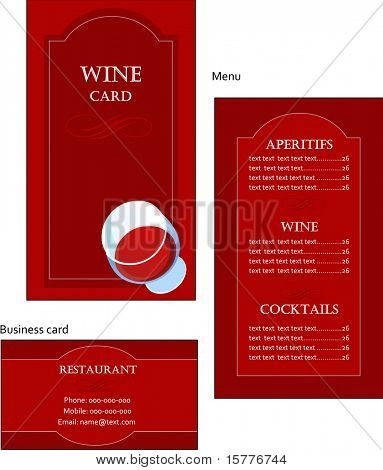 Template designs of wine menu and business card for coffee shop and restaurant, vector file include