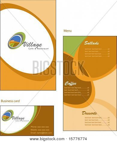 Template designs of menu and business card for coffee shop and restaurant, vector file include