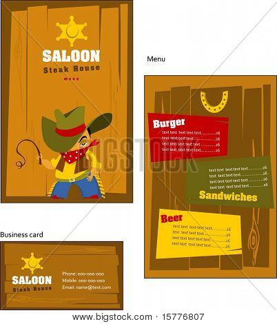 Template designs of menu and business card for coffee shop, and restaurant, vector file include