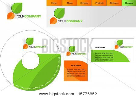 Template design of logo, letterhead, banner, header, disk and business card - vector file