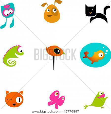 many icons of pets and animals