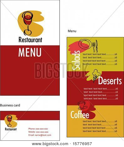 Template designs of menu and business card for restaurant or coffee shop
