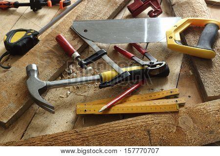 some carpenter's tools close up shallow dof