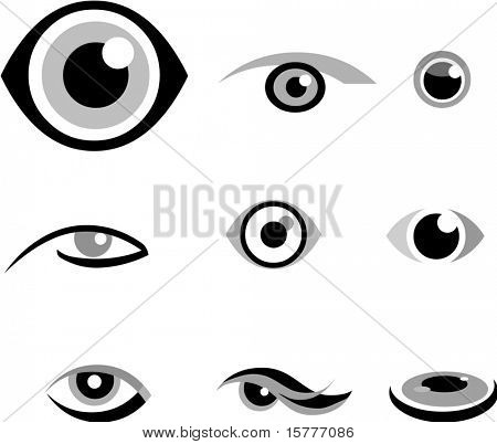 set of  icons of eye, black and white