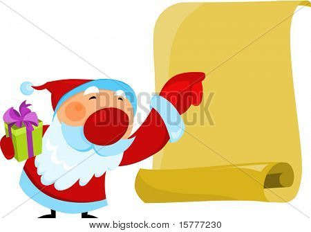 Santa halten ein altes Papier für zusätzliche Werke dieser Art, klicken Sie auf mein Spitzname unten zu visi