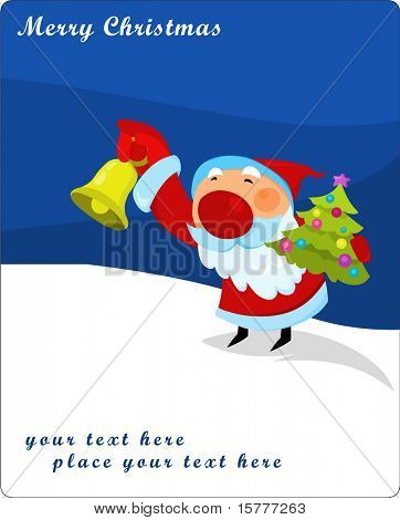 Santa Claus with jingle bell and Christmas tree - gift card