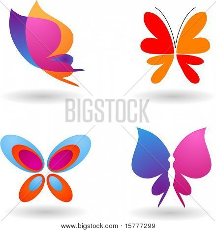 collection of butterfly  icons and symbols, vector design