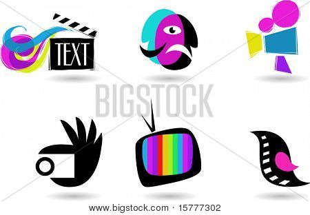 collection of cinema, theater and TV icons and elements