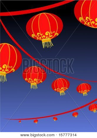 background with red lantern - decoration for Chinese new year