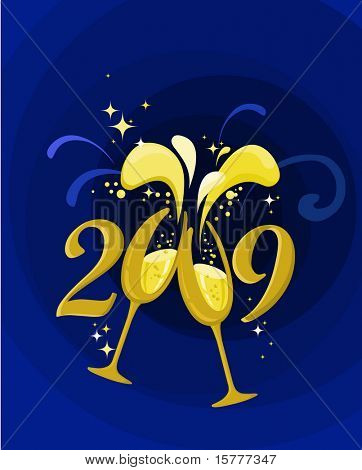 2009 New Year and champagne splash