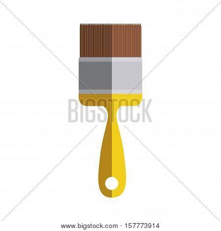yellow paint brush icon in degrade vector illustration