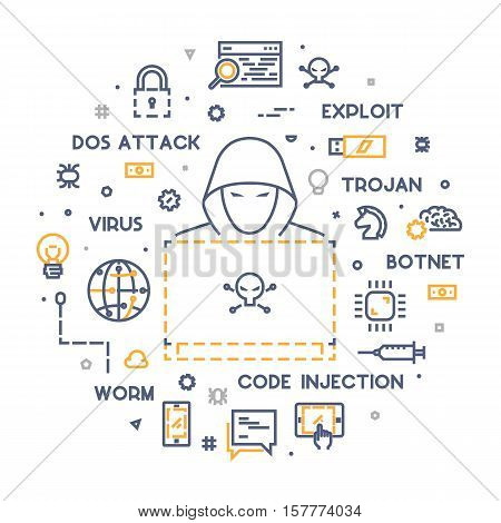 Concept of hacking and cyber crimes. Vector hacker and internet crime. Vector conceptual line illustrations cyber attack. Open path.