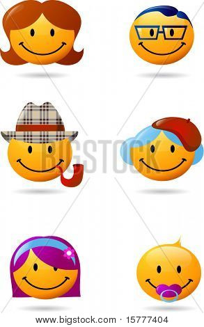 collection of family smilies, vector illustration. For more smilies please visit my gallery