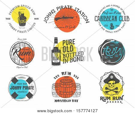 Set of vintage handcrafted emblems, labels, logos. Isolated on a color shapes. Sketching filled style. Pirate and sea symbols - old rum bottles, barrels, skull, pistol. Vector.