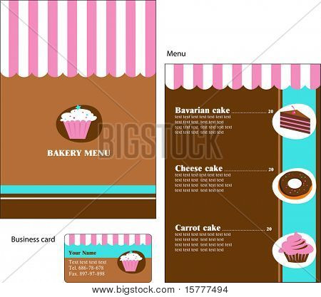Template designs of menu and business card for cafe, coffee shop, bakery and restaurant