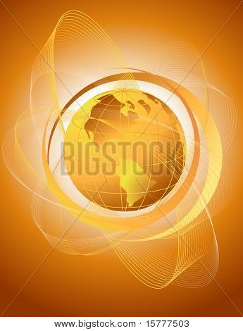 abstract background with orange globe