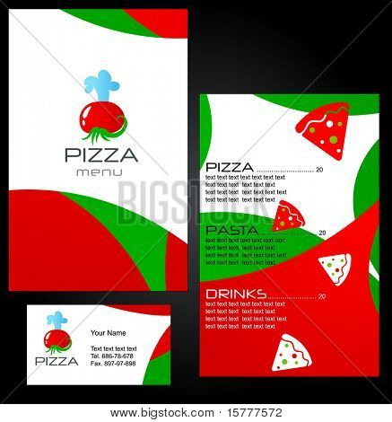 Template of menu for Pizza Restaurant and business card - 8. To see similar menus, please visit MY GALLERY