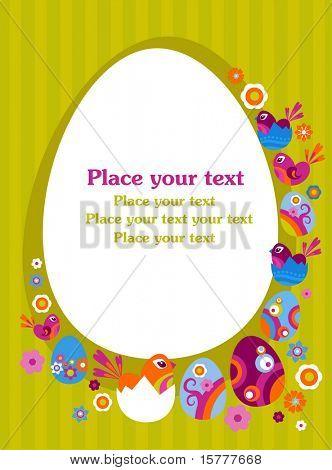 Cartão de Páscoa com ovo decorativo