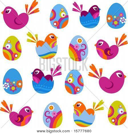 Ícones de Páscoa - ovos e Pássaros decorativos