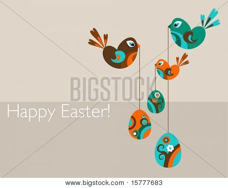 Easter greeting card with decorative eggs and birds