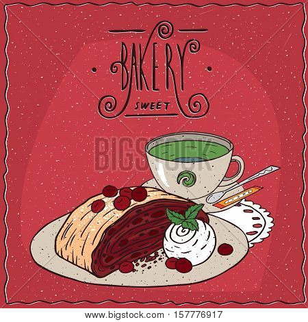 Cherry Viennese Strudel With Cup Of Green Tea