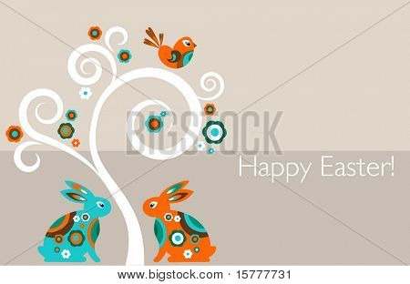 Greeting card - Easter tree with bunnies