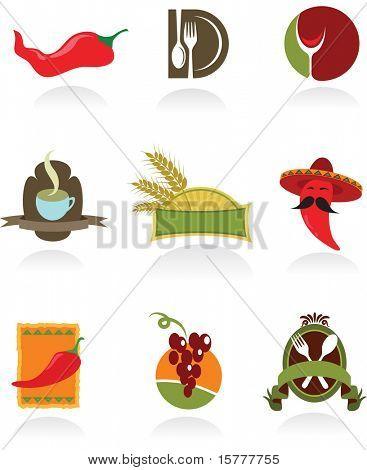 Plantillas de iconos para cafetería y restaurantes