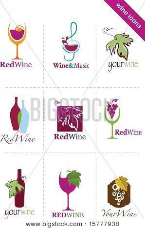 Template designs of wine icons
